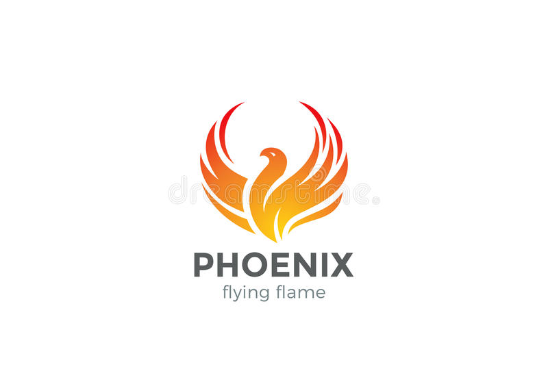 Phoenix Logo flying bird design vector. royalty free illustration