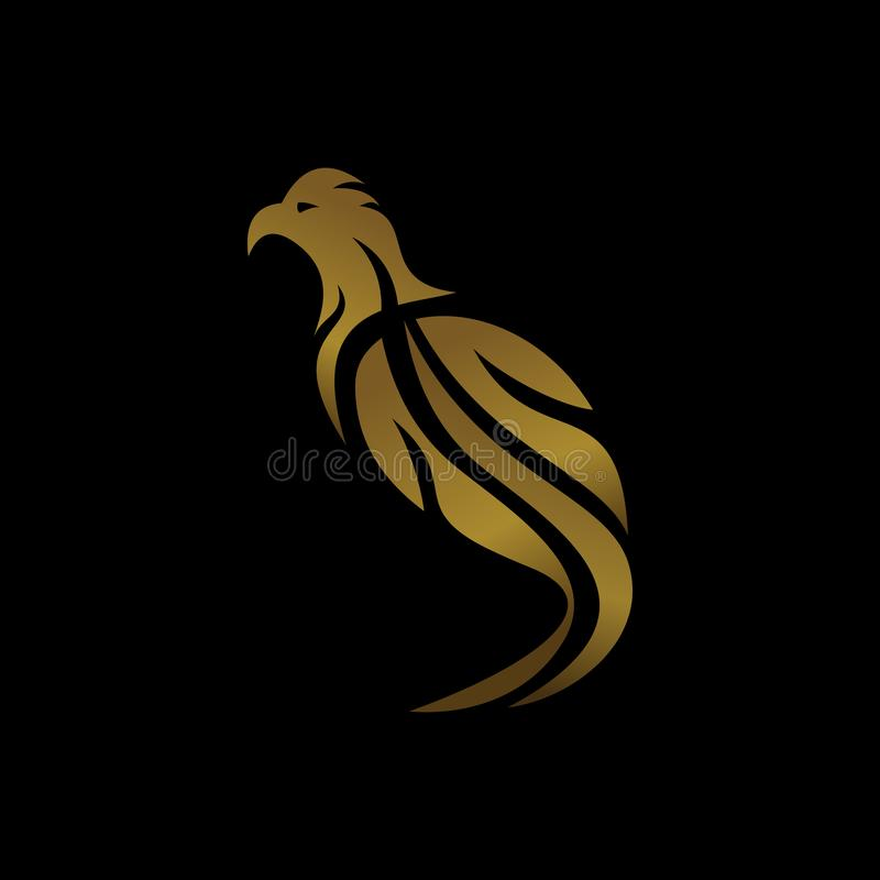 Phoenix logo with gold color isolated on black bacground. Luxury bird icon vector. stock illustration
