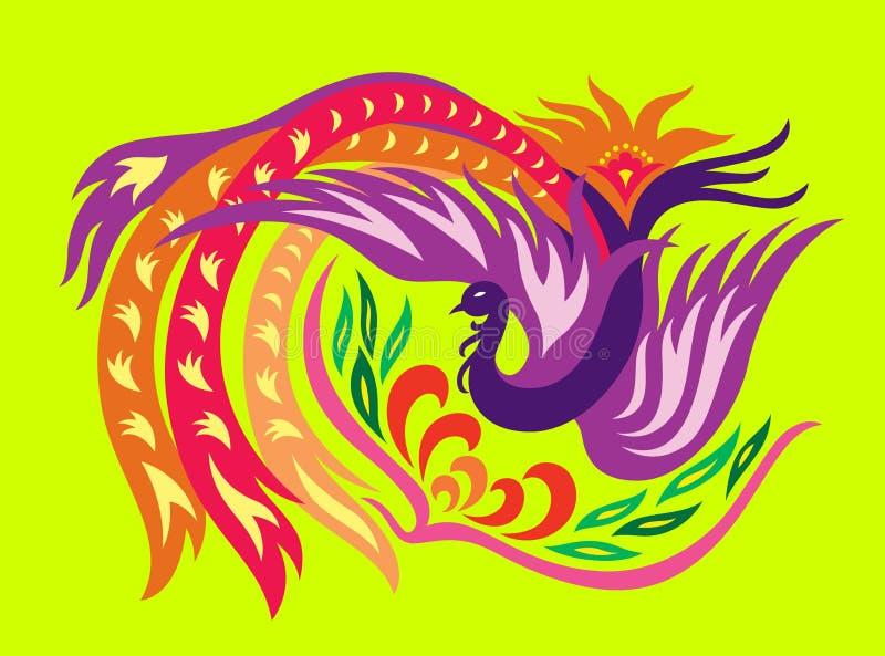 Phoenix met bloem stock illustratie