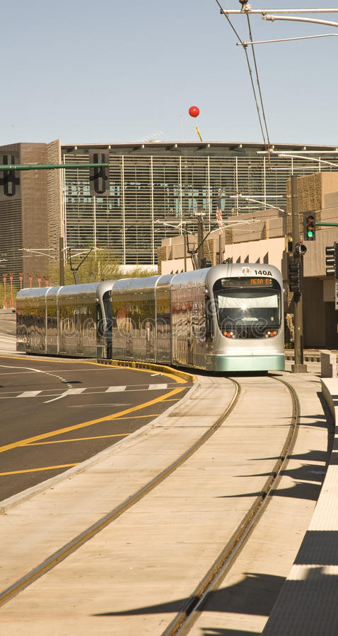 Phoenix Metro Light Rail Train. Light rail train of the Phoenix Metro system photographed in Tempe Arizona stock photography