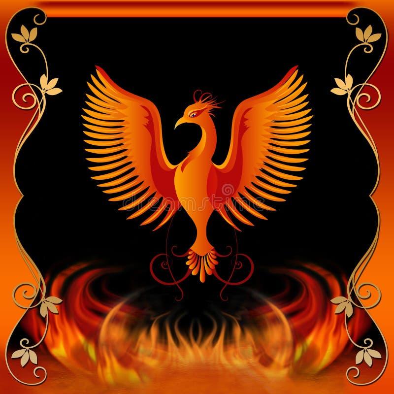 Phoenix mit Feuer und dekorativem Rand stockbild