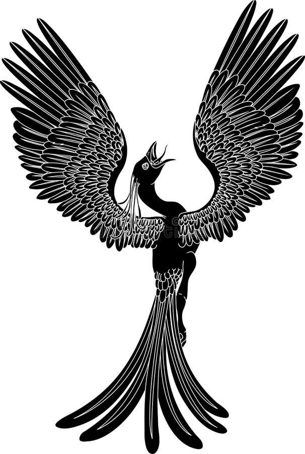 Phoenix monocromático ilustração do vetor