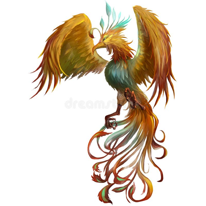 Phoenix, the Mystery Mythical Creatures from Middle Ages and Medieval stock illustration
