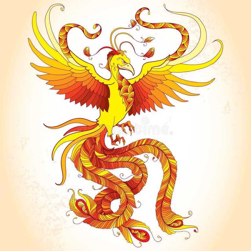 Phoenix mythologique ou Phenix sur le fond beige Oiseau légendaire qui est cycliquement rené illustration de vecteur