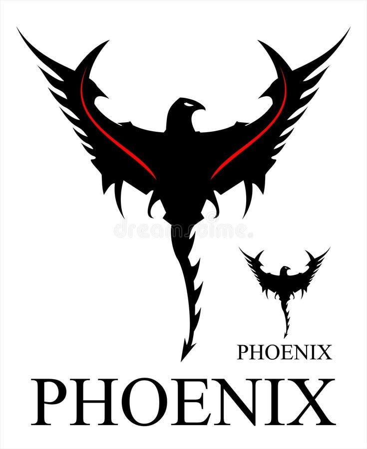 Phoenix nera con la coda della frusta royalty illustrazione gratis