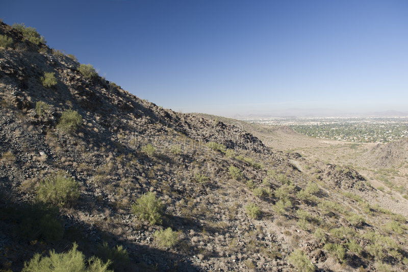 Phoenix, North Side, AZ. Northern Phoenix view as seen from North Mountain, Arizona royalty free stock photo