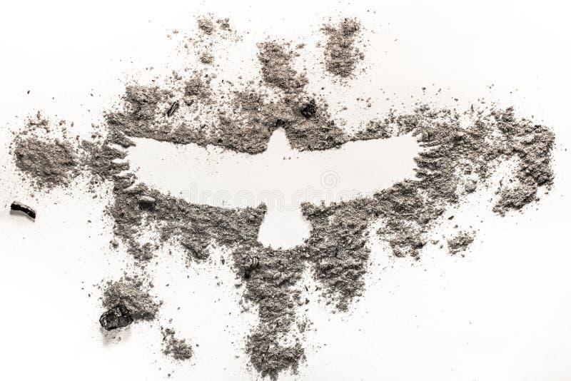 Phoenix, orła ptasi rysunek w popióle jako ogień, narodziny, wygaśnięcie, l obrazy stock