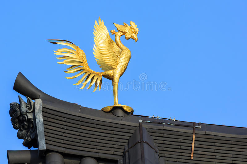 Phoenix Ornamaent on the Roof of Byodo-in Temple in Kyoto stock photo