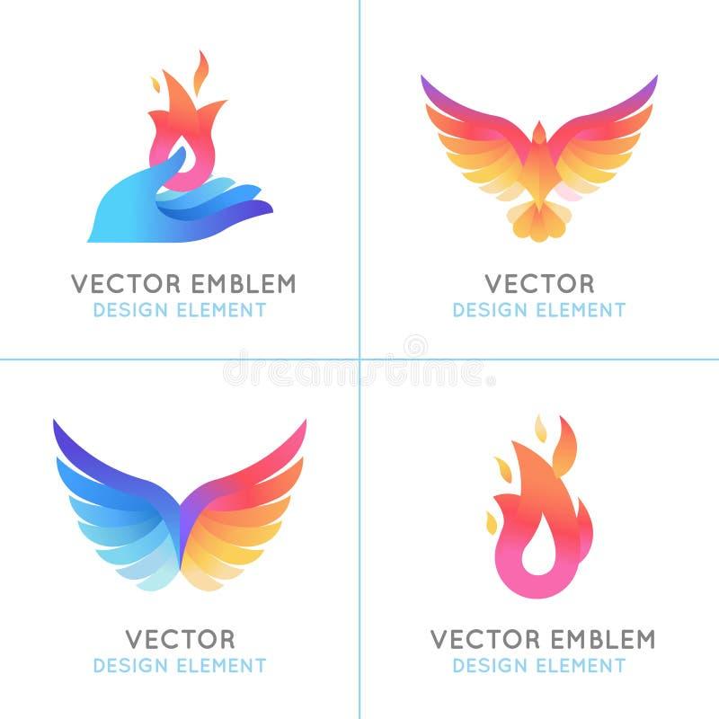 Phoenix ptaki i pożarnicze ikony ilustracja wektor