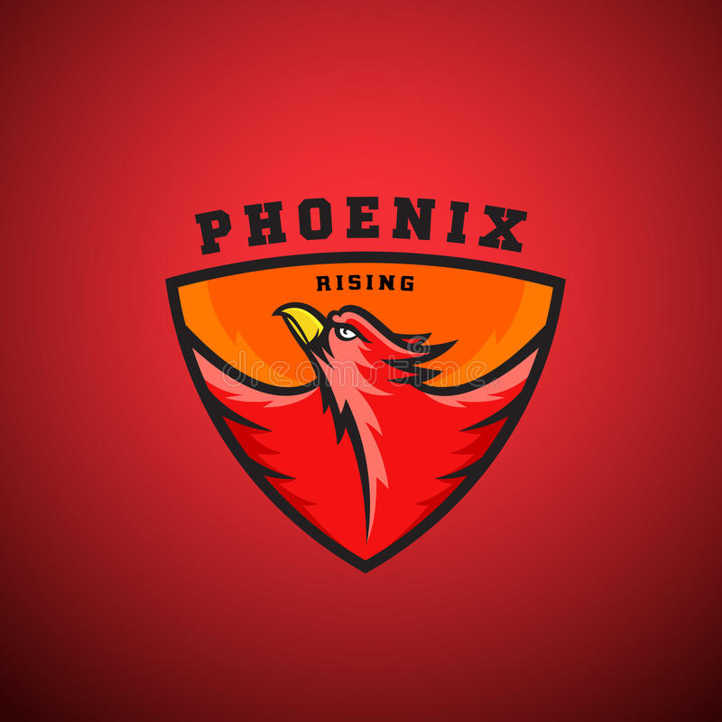 Phoenix Rising Abstract Vector Logo Template. Flying Fire Bird Illustration in a Shield. Perfect for Sport Team Emblems, League Labels, etc. On Red Background vector illustration