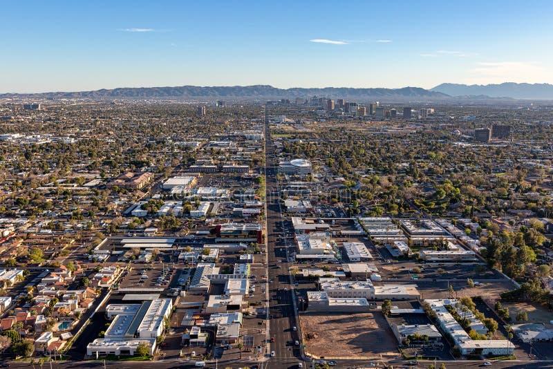 Phoenix in Schemeringtijd van hierboven royalty-vrije stock foto's