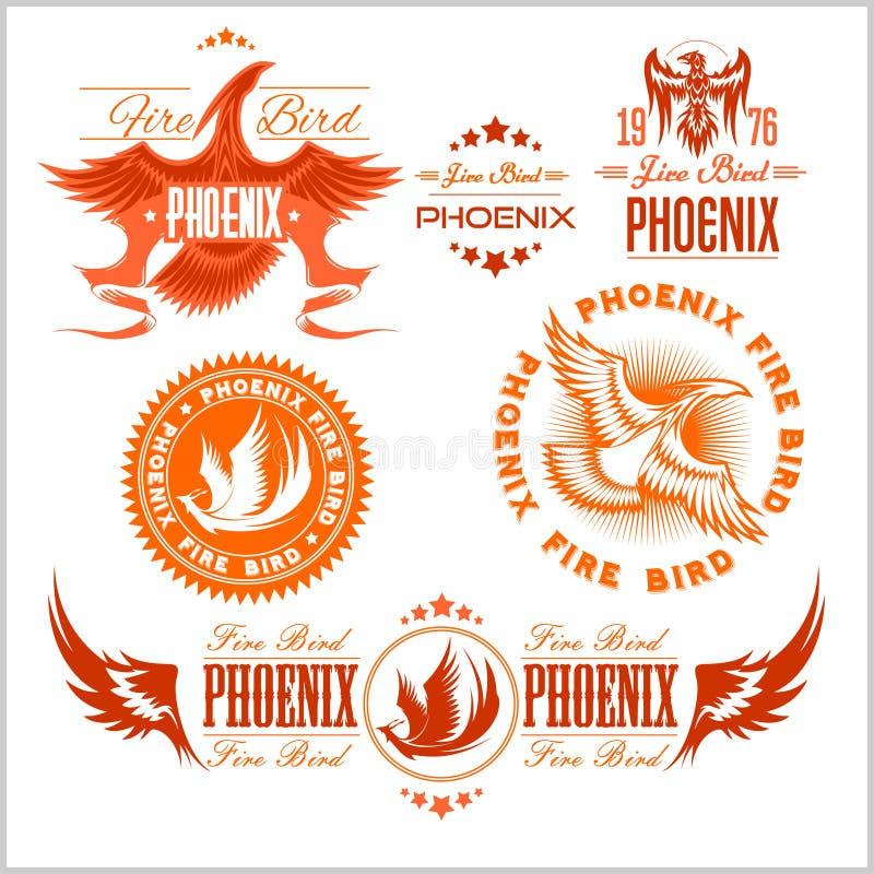 Phoenix - sistema del vector del logotipo de los pájaros y de las llamas del fuego libre illustration