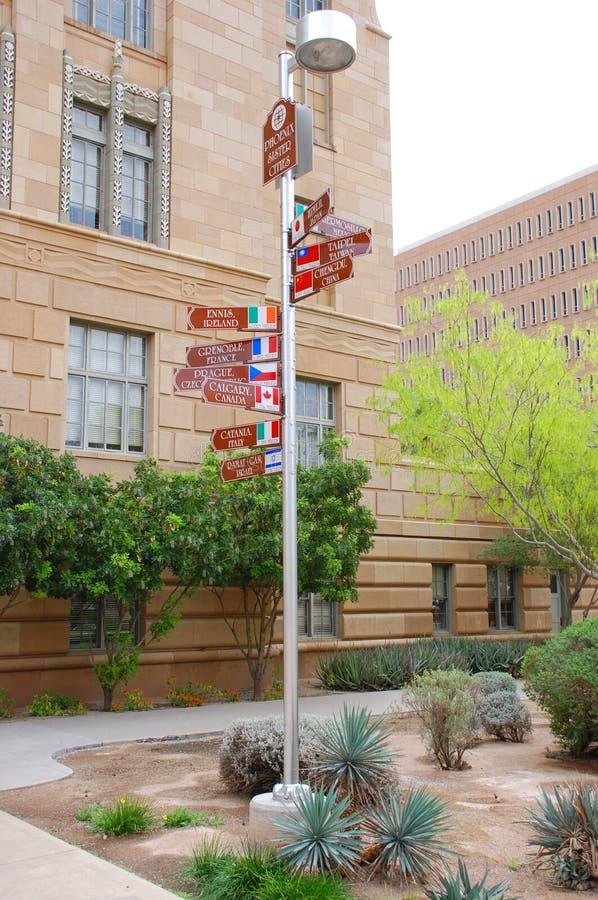 Phoenix Sister cities sign stock photo