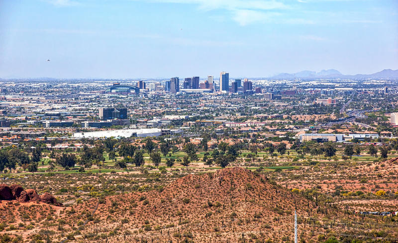 Phoenix Skyline from above Papago Park. Aerial view of the downtown Phoenix, Arizona skyline from above Papago Park stock images