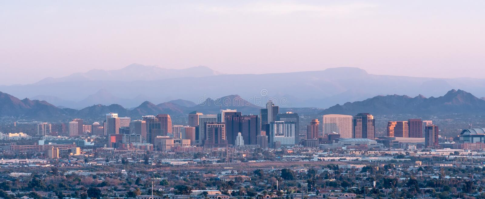 Phoenix Skyline at Sunset stock images
