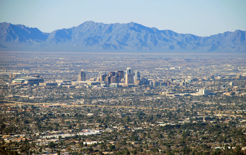 Phoenix skyline: view from Camelback Mountain royalty free stock photography