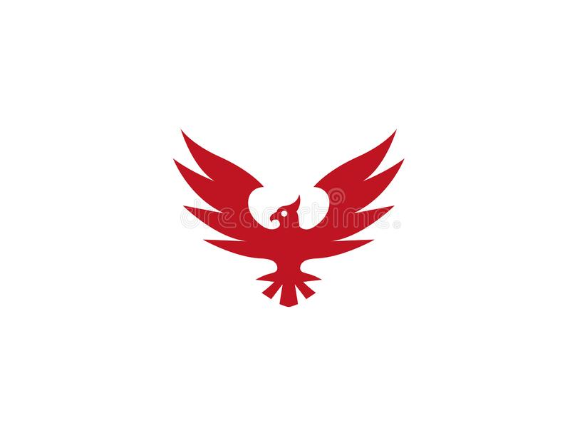 Phoenix Slogan spread wings and earleor hawk Logo royalty free illustration