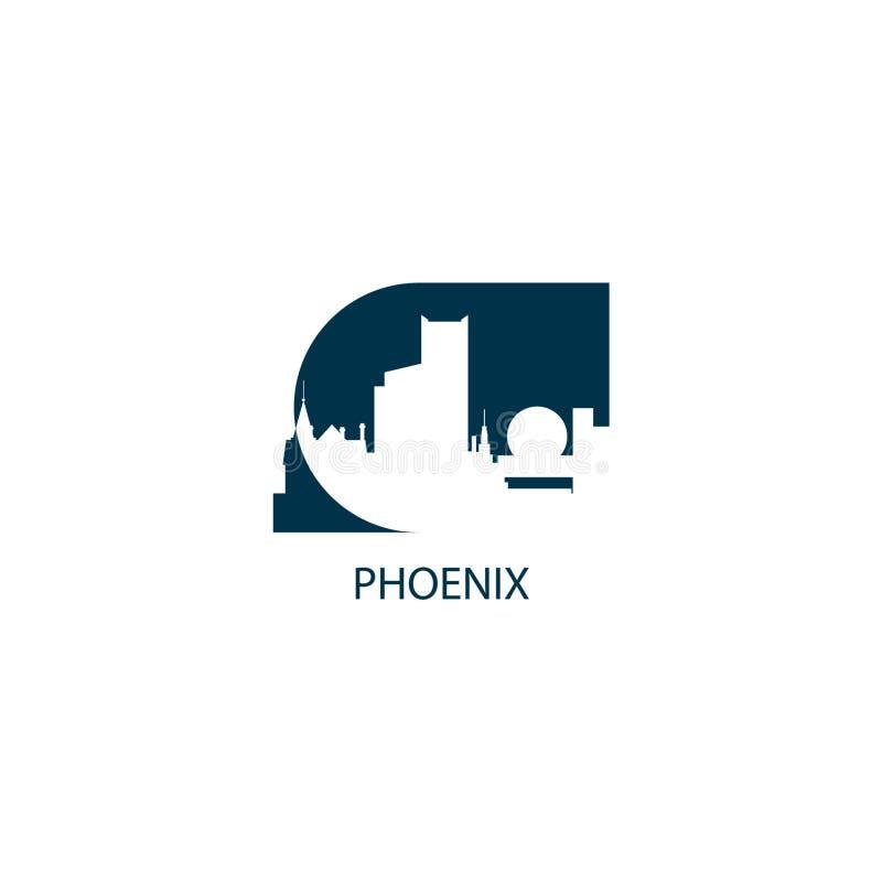 Phoenix-Stadtskylineschattenbildvektor-Logoillustration lizenzfreie abbildung
