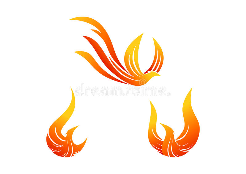 Phoenix symbol design. In a set vector illustration