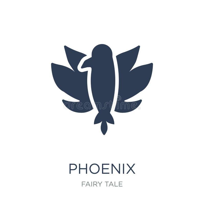 Phoenix symbol Moderiktig plan vektorPhoenix symbol på vit backgroun vektor illustrationer