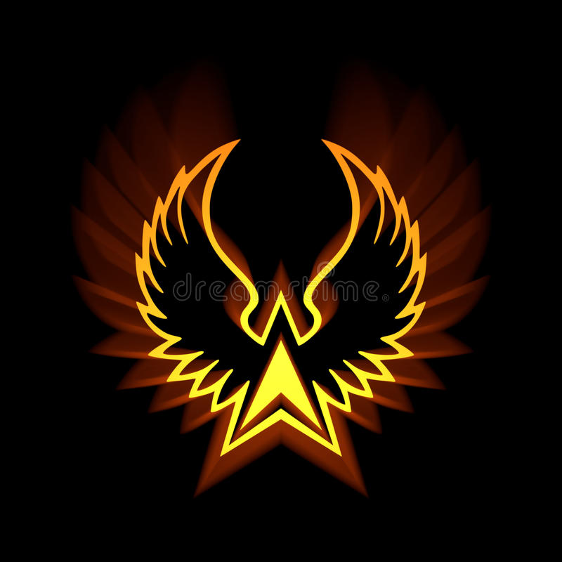 phoenix symbol with strong light flares stock illustration