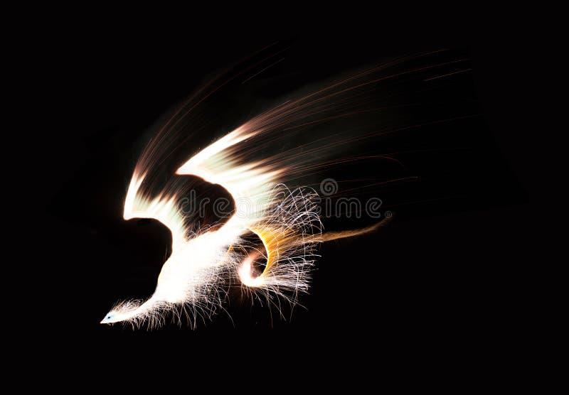 Phoenix van samenstelling van vuurwerkbeelden dat wordt gemaakt royalty-vrije stock afbeeldingen
