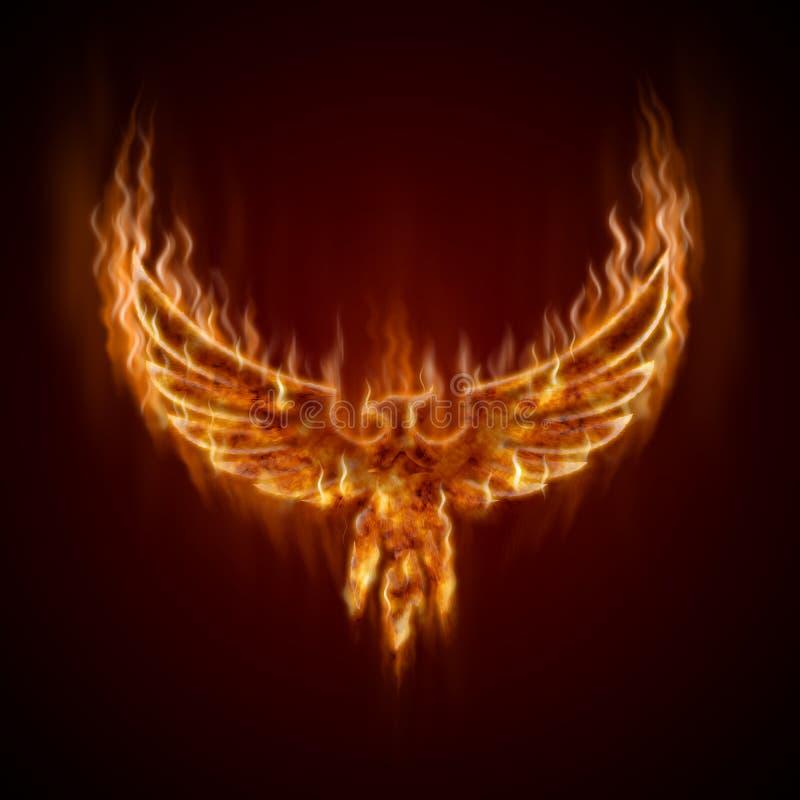 Phoenix vom Feuer mit Flügeln lizenzfreie abbildung