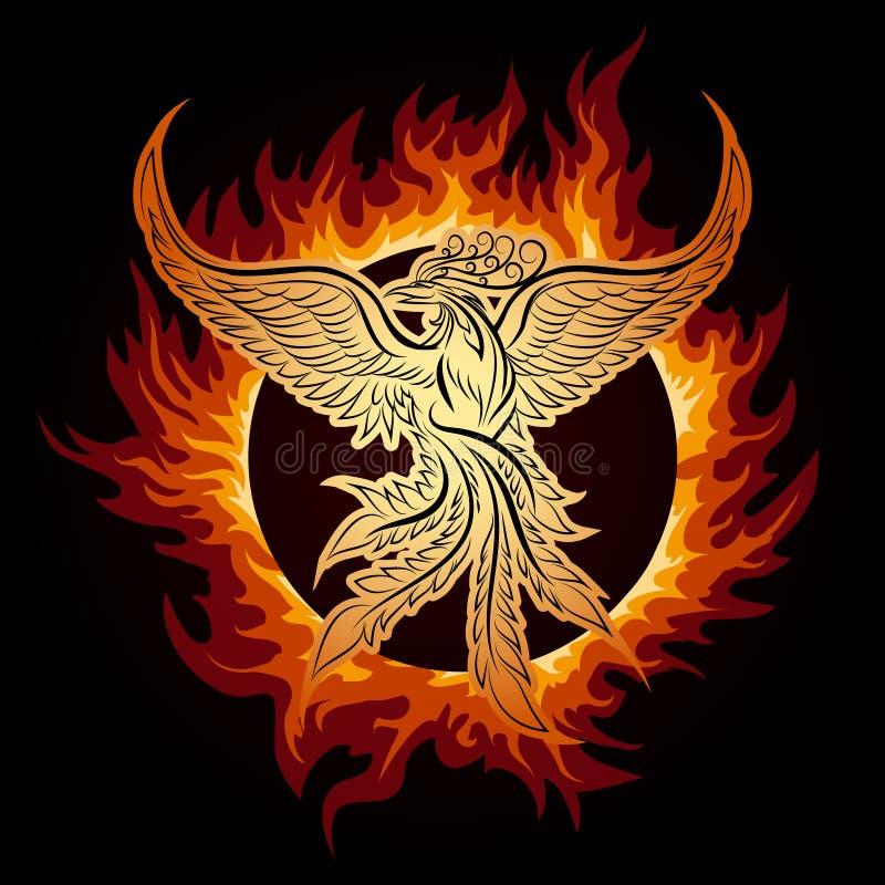 Phoenix w płomieniu ilustracja wektor