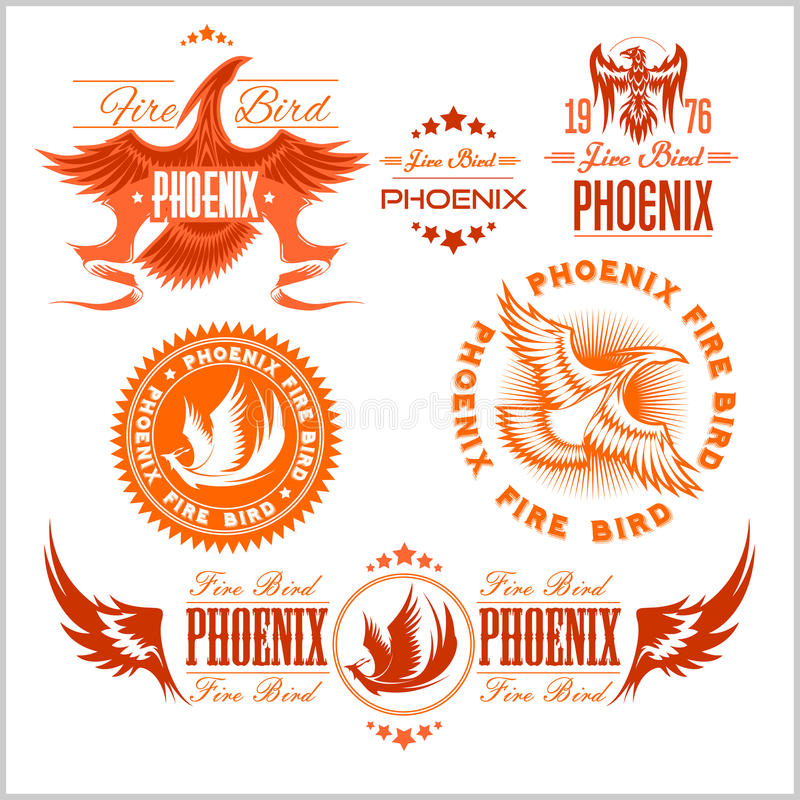 Phoenix - wektorowy ustawiający pożarniczy ptaków i płomieni logo royalty ilustracja