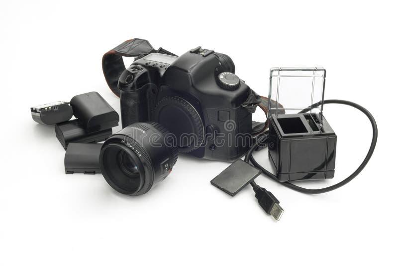 Phographic与宗旨,锂电池, SD c的照相机反射 免版税库存图片
