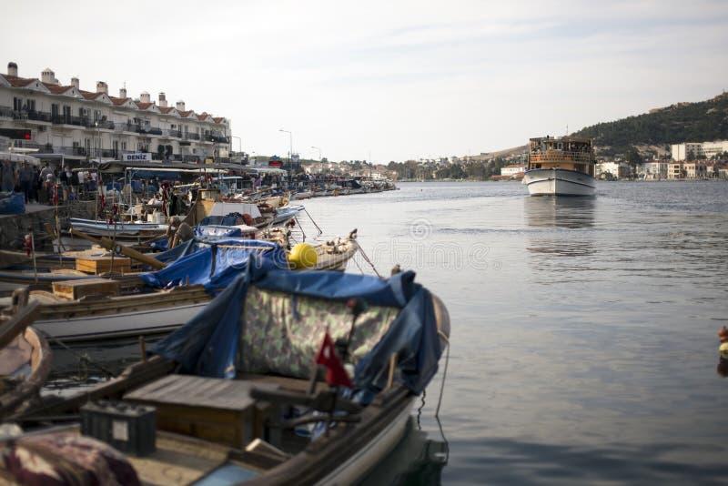 从Phokaia伊兹密尔土耳其的口岸视图 免版税库存照片