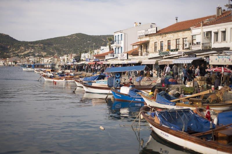 从Phokaia伊兹密尔土耳其的口岸视图 免版税库存图片