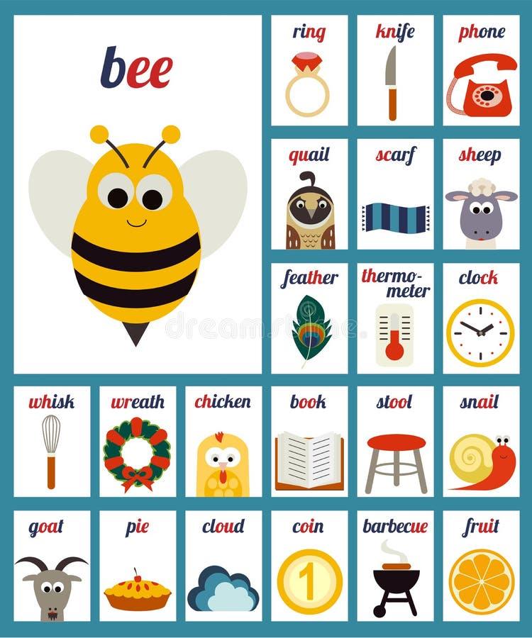Phonèmes illustrés d'alphabet illustration de vecteur