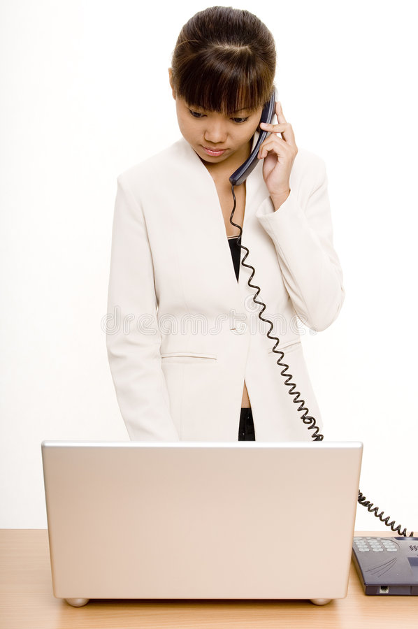 Download On The Phone 1 stock image. Image of people, laptop, clerical - 334875
