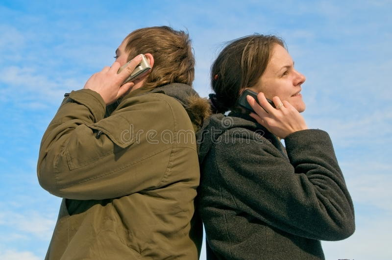 By phone stock photography