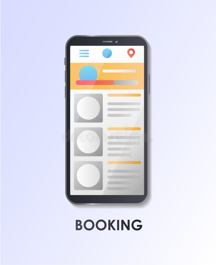 Booking. Search room hotel. Concept for web page, banner, presentation, social media. royalty free illustration