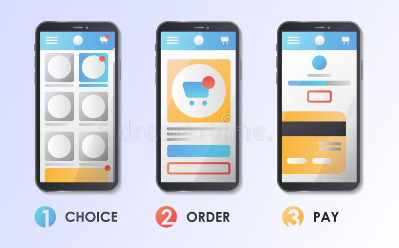 Material Design UI/UX and GUI Screens. Flat vector illustration. Choice, Select, Order, Pay. stock illustration
