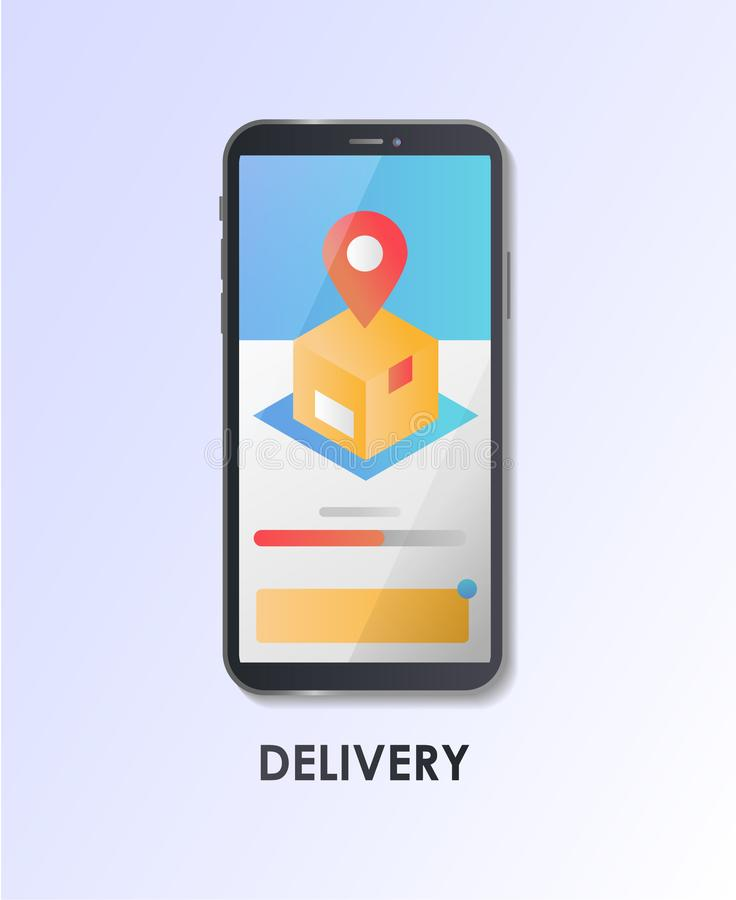 Material Design UI/UX, GUI screen delivery, package, GPS tracking. Flat vector illustration. royalty free illustration