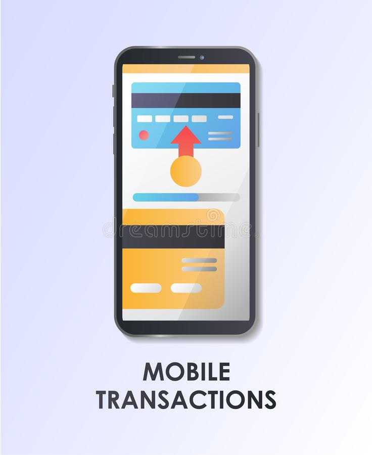 Mobile transaction. Payment. Flat vector illustration. Mobile transaction. Payment. Material Design UI/UX and GUI Screen. Mobile app, kit, template. User royalty free illustration