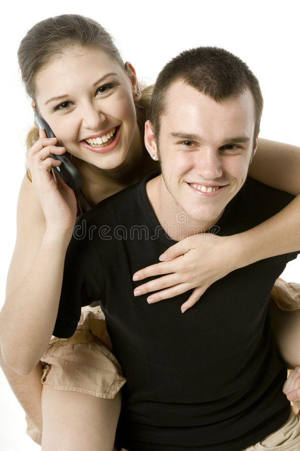 Download On The Phone stock photo. Image of lovers, together, cellphone - 2110252
