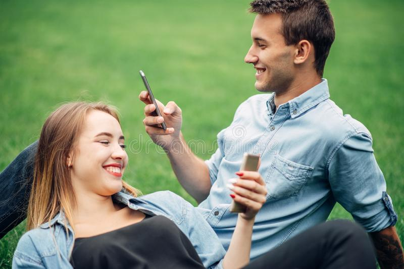 Phone addicted people, social addict stock image