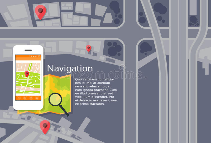 Phone Application City Map Navigation Search. Street With Pins Icons Flat Vector Illustration vector illustration