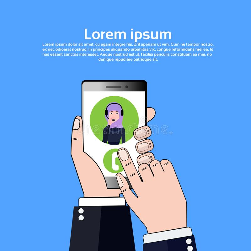 Phone application hand hold gudget arab call center headset agent woman bubble client support online operator, customer vector illustration