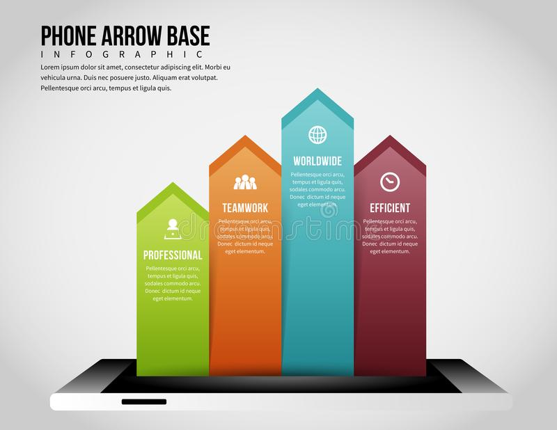 Phone Arrow Base Infographic royalty free illustration
