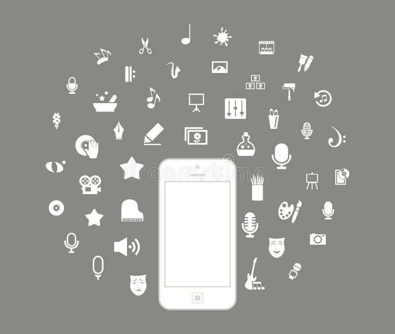 Phone art. Art round phone. A vector illustration stock illustration