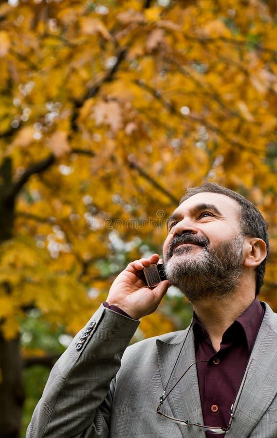 Phone Autumn Outdoors Adult Stock Image
