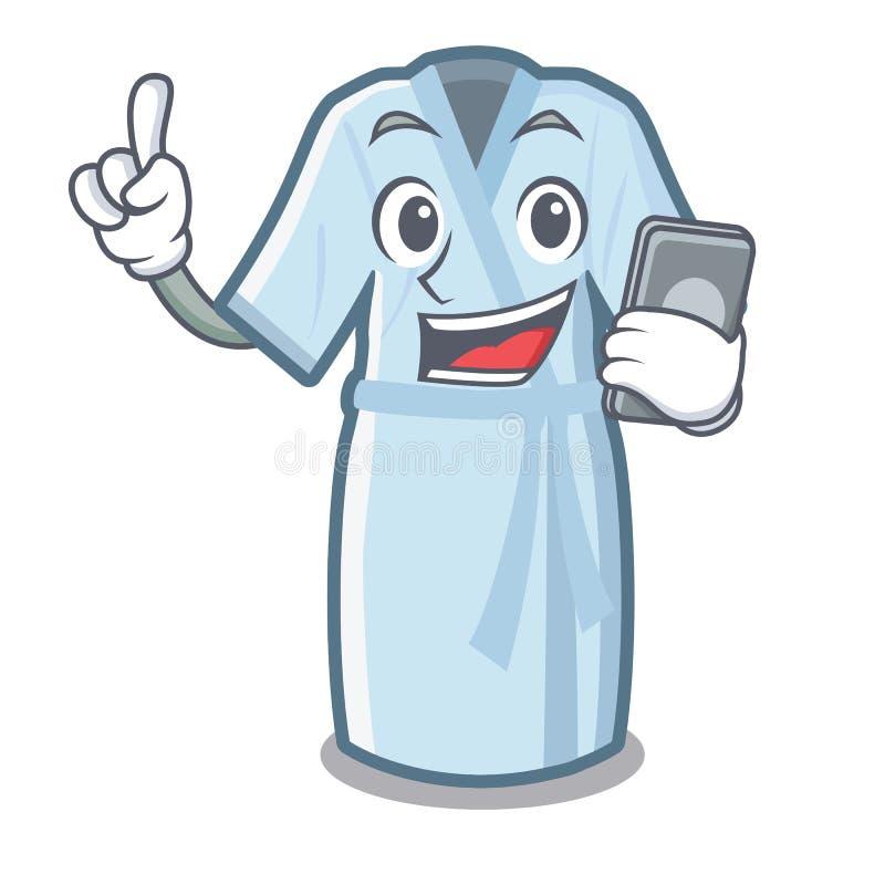 With phone bathrobe in the a cartoon shape stock illustration
