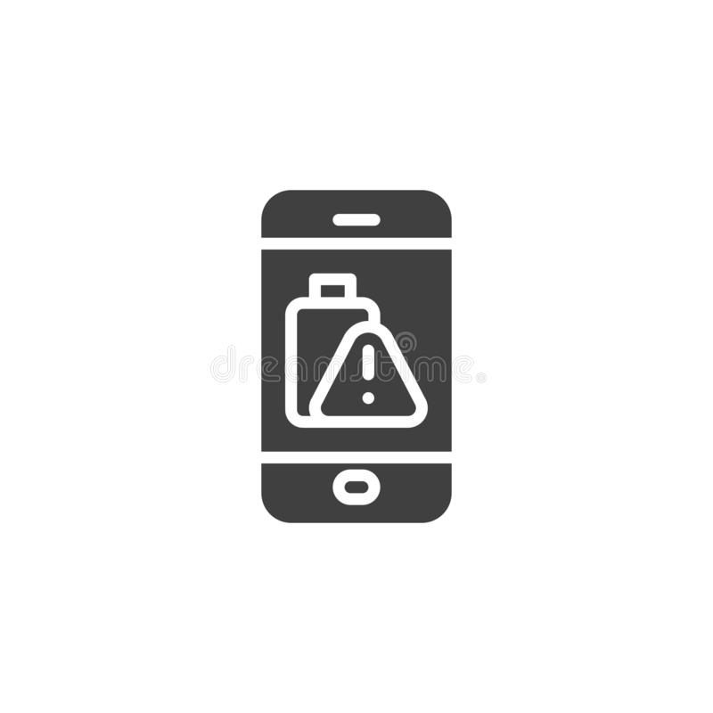 Phone battery low alert vector icon. Filled flat sign for mobile concept and web design. Smartphone battery warning sign glyph icon. Symbol, logo illustration vector illustration