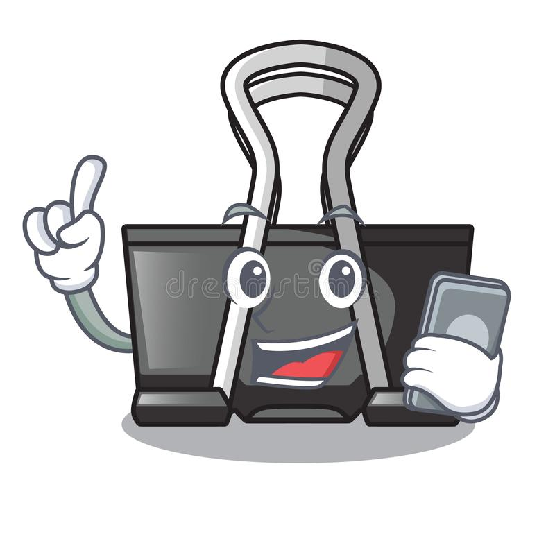 With phone binder clip in the character shape. Vector illustration royalty free illustration