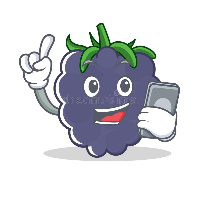 With phone blackberry character cartoon style stock illustration